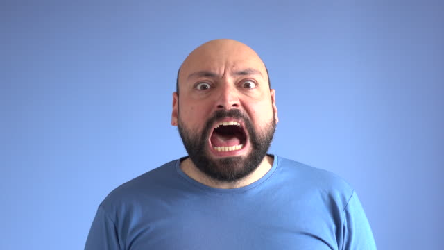 UHD Video Portrait Of Shouting Adult Man