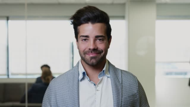 Video Portrait of Smiling Spanish Businessman