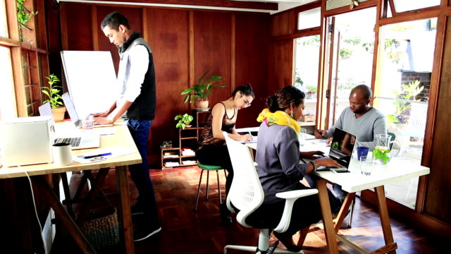 Video portrait Young Hispanic woman working in shared creative office