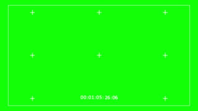 videoaufnahmerahmen grüner bildschirm, kamerasucher digitale overlay-anzeige (beginnt ab 01:05:03 und ende mit 01:05:32) - digitalkamera bildschirm stock-videos und b-roll-filmmaterial