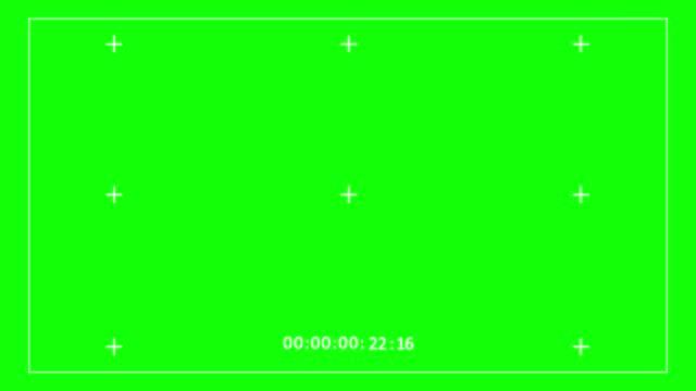 videoaufnahmerahmen grüner bildschirm mit timecode, digital-overlay-anzeige des kamerasuchers (beginnt ab 00:00:00 uhr und endet mit 00:00:30) - digitalkamera bildschirm stock-videos und b-roll-filmmaterial
