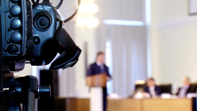 video reporter working at the conference - press room stock videos & royalty-free footage