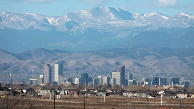 HD video Rocky Mountains and Denver Colorado traffic