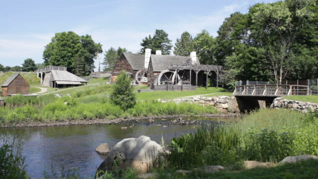 hd video saugus river and iron works massachusetts - water wheel stock videos and b-roll footage