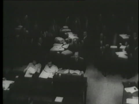 a video shows defendants, documents and speakers at the nuremberg trials. - prisoner education stock videos & royalty-free footage