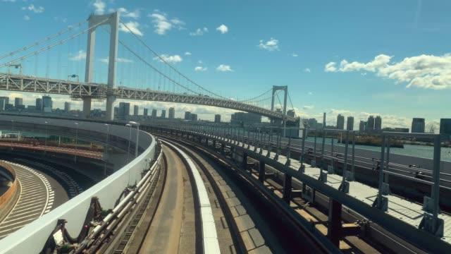 vídeos de stock, filmes e b-roll de vídeo 4k: passeios de trem automático à noite, tóquio, japão-vídeo stock - ponto de vista de bonde