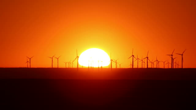 HD video Sunrise on wind farm Pawnee National Grasslands Colorado
