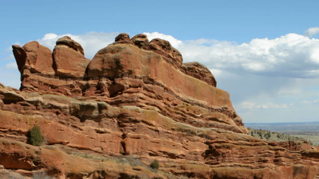hd video time lapse clouds over red rocks colorado - red rocks stock videos and b-roll footage