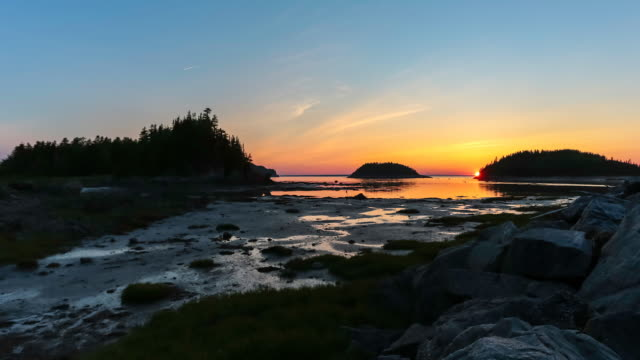 4K Video Time Lapse of Bic National Park at Sunset, Quebec, Canada
