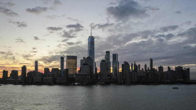 4K Video Zeitraffer von Lower Manhattan New York City bei Sonnenaufgang