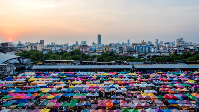 video timelaps at night market, bangkok, thailand - sabah state stock videos and b-roll footage