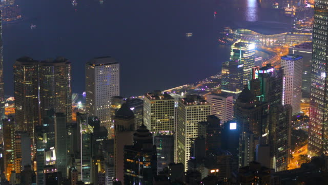 video view of hong kong at night from victoria peak - victoria peak stock videos & royalty-free footage