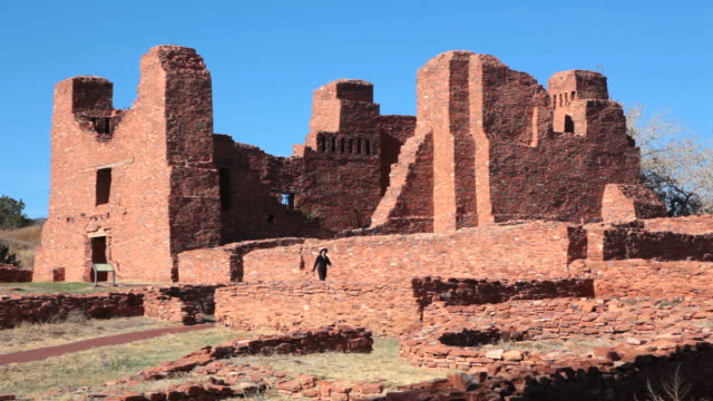 hd video visitor admires salinas pueblo missions national monument - calton hill national monument stock videos and b-roll footage