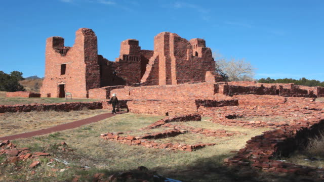hd video visitor explores salinas pueblo missions national monument - calton hill national monument stock videos and b-roll footage