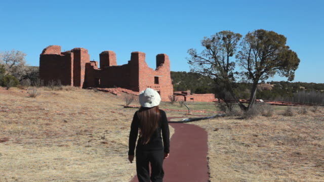 hd video visitor walks salinas pueblo missions national monument - calton hill national monument stock videos and b-roll footage