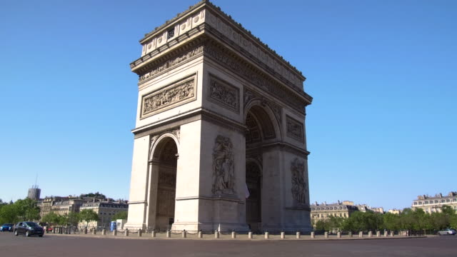 video walking around the arc de triomphe in paris, daytime - french flag stock videos & royalty-free footage