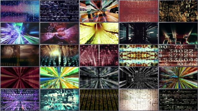 video wall 1001: a video wall of streaming data. - 沢山の物点の映像素材/bロール