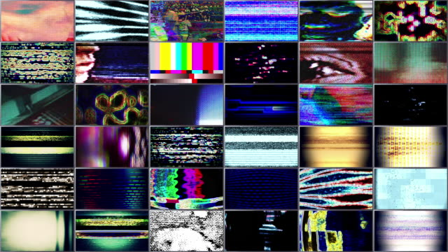 video wall 1003: tv noise video malfunction - cloud computing stock videos & royalty-free footage
