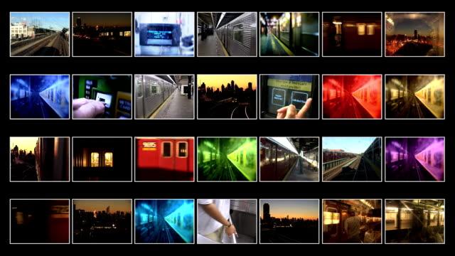 3d video wall animation of new york subway trains - bildschirmwand stock-videos und b-roll-filmmaterial