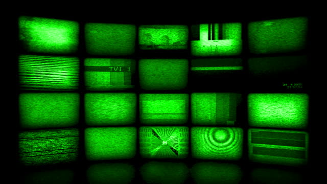 video wall background. night vision version (loopable) - computer monitor stock videos & royalty-free footage