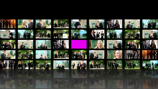 stockvideo's en b-roll-footage met video wall business people - personeelsbeleid