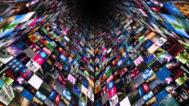 video wall media stream (hd-loop - projektionswand stock-videos und b-roll-filmmaterial
