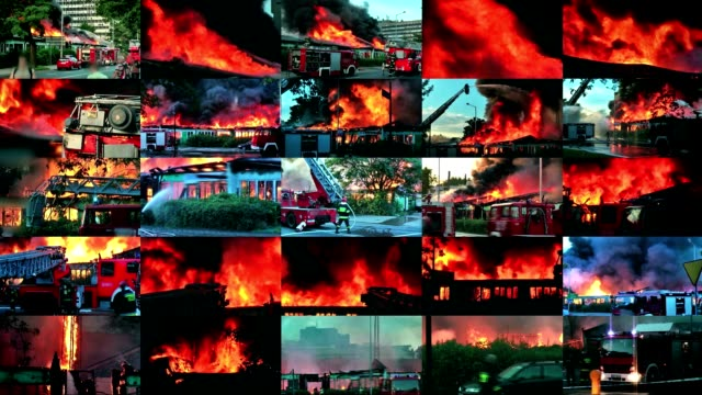 video wall of big  fire in the city - firefighter stock videos and b-roll footage