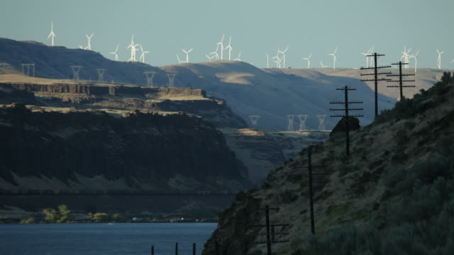 hd video wind turbines and power lines columbia river - telegraph pole stock videos and b-roll footage
