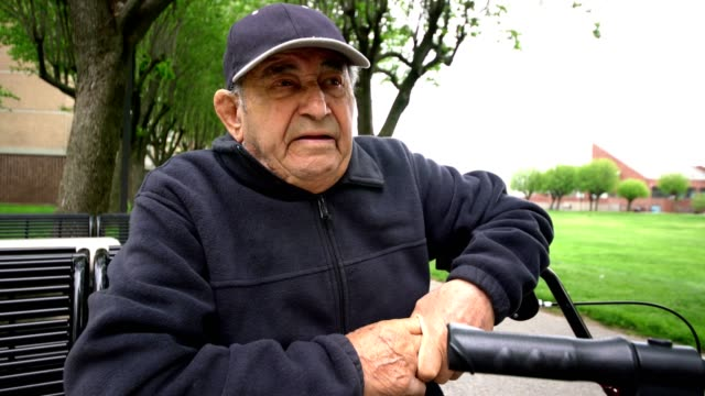 Videoportrait of 90-years-old senior man