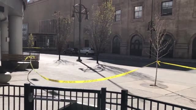 videos of road closures due to awning which fell off elkie caulkins opera house due to high winds and crushed a truck on champa - awning stock videos & royalty-free footage