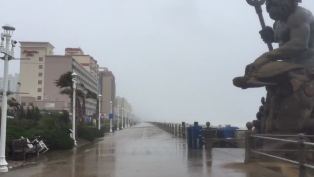 videos of virginia beach oceanfront and neptune's park as the remnants of hurricane hermine go out to sea - virginia beach stock videos & royalty-free footage