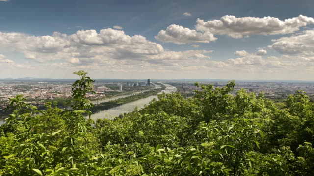 vienna aerial view from leopoldsberg - traditionally austrian stock videos & royalty-free footage
