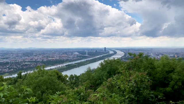 vienna aerial view - river danube video stock e b–roll