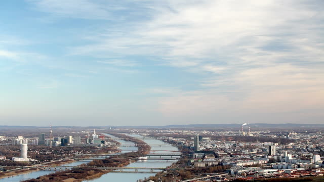 Vienna at blue danube river
