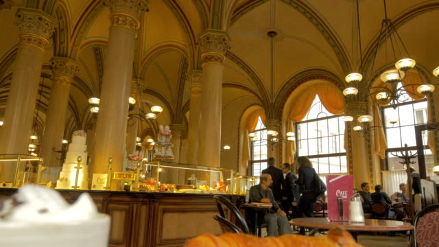 Vienna cafe with waiter.Wide shot
