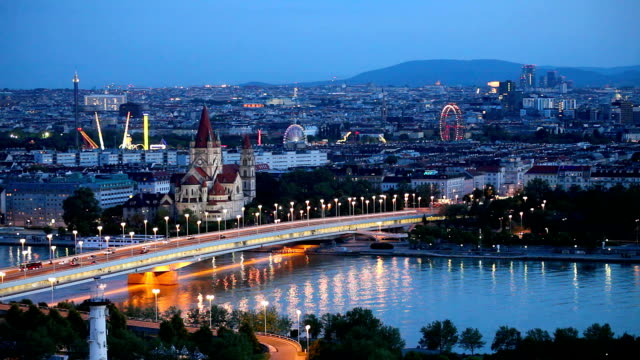 vienna cityscape at night - austria stock videos & royalty-free footage