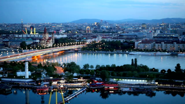 vienna cityscape at night - river danube stock videos & royalty-free footage