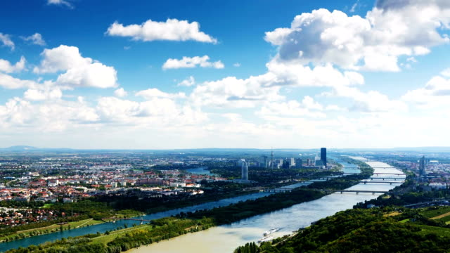 vienna cityscape time lapse - river danube stock videos & royalty-free footage