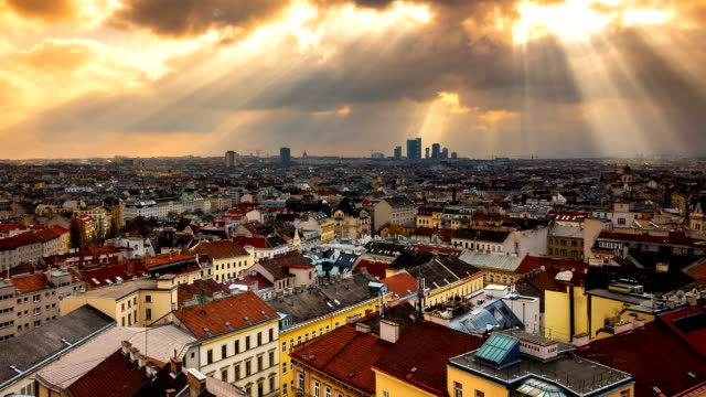 vienna cityscape time lapse - zoom in - vienna austria stock videos & royalty-free footage