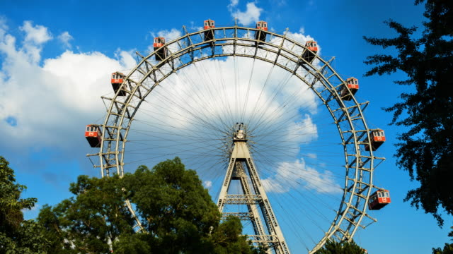 wiener riesenrad time lapse - prater park stock videos & royalty-free footage
