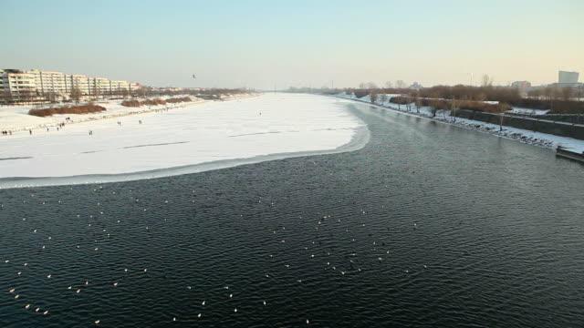 Vienna, frozen danube in winter