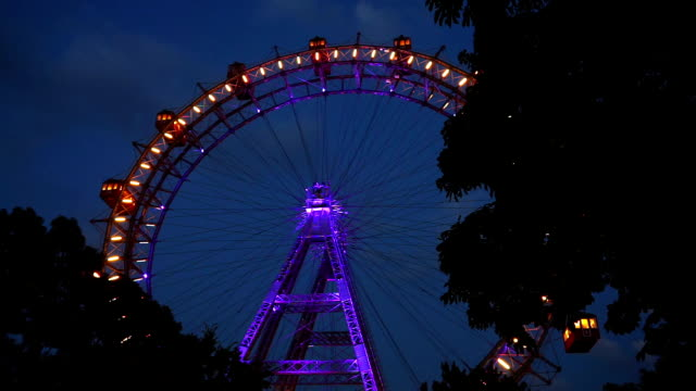 vienna giant wheel at night - prater park stock videos & royalty-free footage