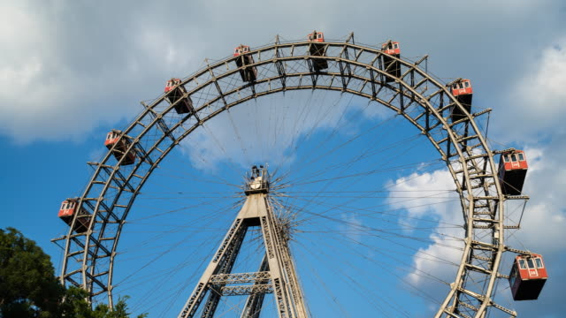 vienna giant wheel time lapse - prater park stock videos & royalty-free footage