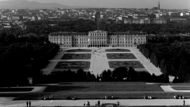 dx - vienna - h.l.s. over lake toward the schoenbrun palace buildings, summer palace - b&w. - vienna austria stock videos & royalty-free footage
