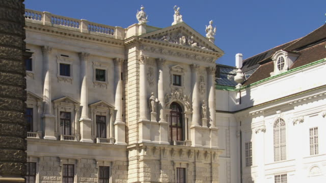 pan vienna hofburg palace festsaaltrakt (festival hall wing) and hofbibliothek (imperial library)  - the hofburg complex stock videos & royalty-free footage