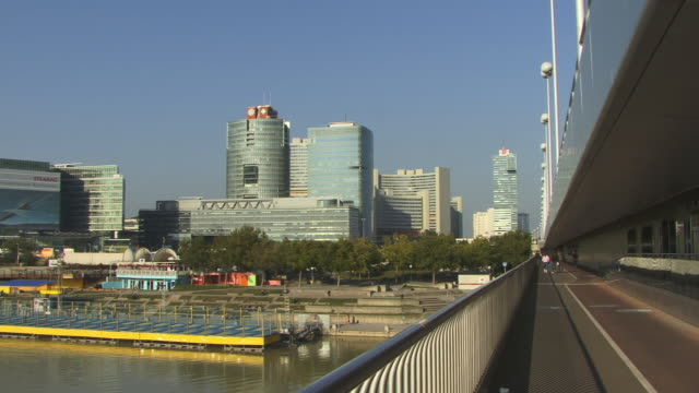 ws, pan, vienna international centre and river danube, vienna, austria - traditionally austrian stock videos and b-roll footage