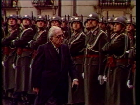 vienna presidential palace ext gv guard of honour massed outside building ms line guard of honour stand to attention cms henry grunwald lr inspecting... - guard of honour stock videos and b-roll footage