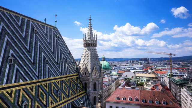 vienna skyline from st. stephens cathedral - austria video stock e b–roll