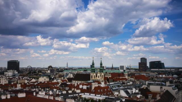 vienna skyline time lapse - vienna stock videos and b-roll footage