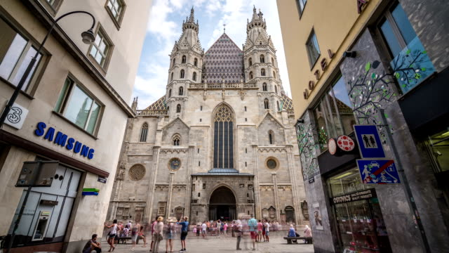 vienna st. stephen's cathedral hyperlapse - traditionally austrian stock videos & royalty-free footage